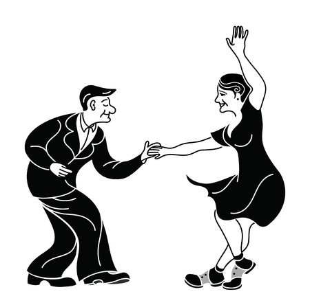 Dancing seniors. Happy old people have fun. Active pensioners.Retro vintage black silhouette dancer.Couple silhouettes dancing swing, rock or lindy hop. Retro style isolated. Print for poster Illustration