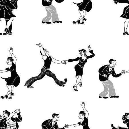 Pattern retro dance.Dance couple silhouette. Seamless retro silhouette dancer.Charleston party dance vintage people isolated on white background. Black silhouette vector