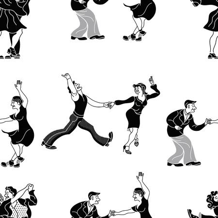 Retro- Tanz des Musters Tanzpaarschattenbild. Nahtloser Retro- Schattenbildtänzer. Charleston-Parteitanz-Weinleseleute lokalisiert auf weißem Hintergrund. Schwarzer Silhouette Vektor