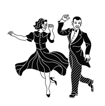 Retro dans paar silhouet. Vintage silhouet danser.Charleston partij dans vintage mensen geïsoleerd op een witte achtergrond. Elegant paar kleding retro dansen Charleston. Zwart silhouet Stock Illustratie