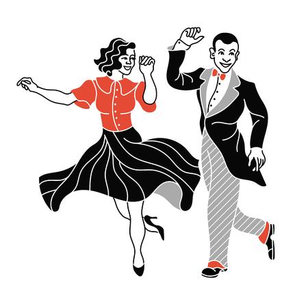 Silueta de pareja de baile retro. Bailarín de la silueta de la vendimia. Gente de la vendimia de la danza del partido de Charleston aislada en el fondo blanco. Traje de la ropa elegante del estilo de los pares que bailan charleston Foto de archivo - 90628117