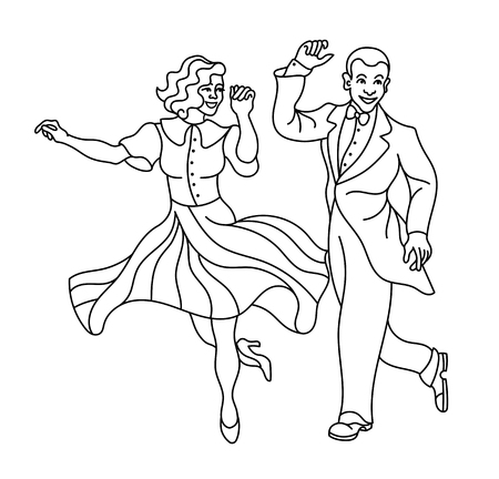 Retro dance couple silhouette. Vintage silhouette dancer.Charleston party dance vintage people on white background.Elegant couple retro style clothes dancing charleston. outline silhouette  イラスト・ベクター素材