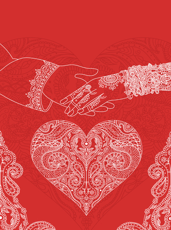 Wedding indian invitation card. India marriage template.Beautifully decorated Indian bride hand.Close-up of groom holding brides hand.Indian bride with mehandi in hand in vector. lineart Vettoriali