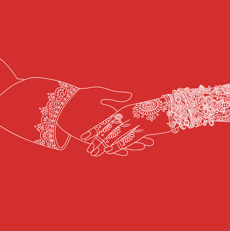 Wedding indian invitation card ceremony white lines .India marriage template.Beautifully decorated Indian bride hand.Close-up of groom holding brides hand.Indian bride with mehandi in hand in vector Vectores