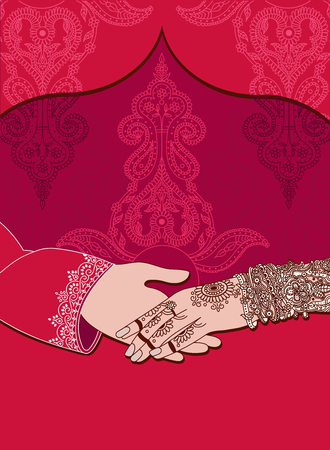 Wedding Indian Invitation Card On Red Background India