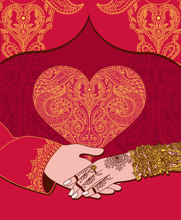 Wedding indian invitation card with golden heart. India marriage template.Beautifully decorated Indian bride hand.Close-up of groom holding brides hand.Indian bride with mehandi in hand in vector