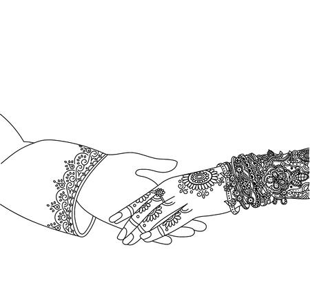Cartão indiano do convite do casamento no fundo branco. Modelo de casamento da Índia. Lindamente decorado mão noiva indiana. Close-up do noivo segurando a mão de noivas. Ilustración de vector