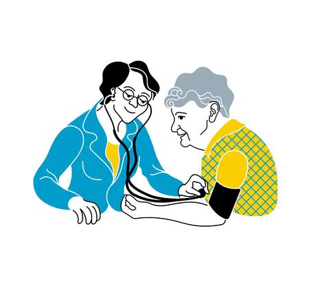 Zorg voor ouderen. Medische consultatie. Een verpleegster die voor een zieke oudere vrouw zorgt. Arts meet de bloeddrukpatiënt. Medische behandeling en zorgposter. Oudere zorgverlener Stockfoto - 91879349