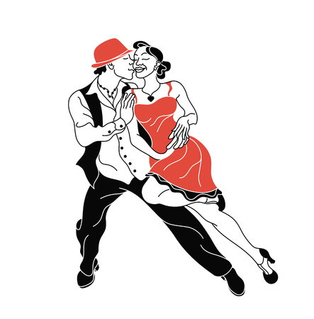Salsa party vector poster. Elegant couple dancing salsa. Retro style. Silhouettes of people dancing salsa and musicians playing latin music.Cuba club. Couple dancing salsa.Fishnet stockings