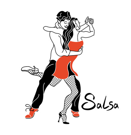 Salsa party poster. Elegant couple dancing salsa. Retro style. Silhouettes of people dancing salsa and musicians playing latin music.Cuba club. Couple dancing salsa.Fishnet stockings