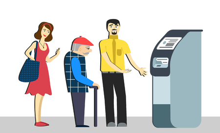 Queue at the ATM.Disgruntled people are standing in line for an isolated background.