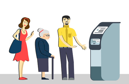 Queue at the ATM.Disgruntled people are standing in line for an isolated background.Senior woman in queue. terminal machine bank.withdrawing money from ATM.Banking concept vector