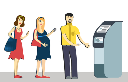 Queue at the ATM.Disgruntled people are standing in line for an isolated background.pregnant woman in queue. terminal machine bank.withdrawing money from ATM.Banking concept vector