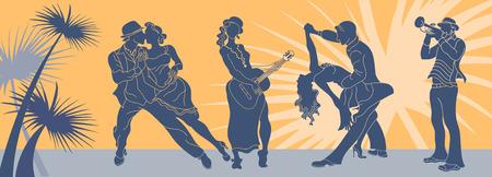 살사 댄스 벡터입니다. 탱고 커플 벡터입니다. 살사 댄서 커플. 아르헨티나 탱고입니다. 웹 배경 살사 라틴계입니다. 살사 음악 파티 배너입니다. 몇 탱