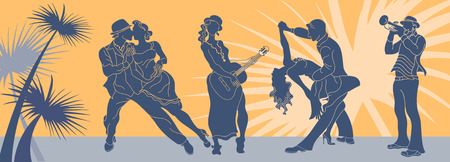 Salsa dance vector.Tango couple vector. Couple dancing salsa. Argentine tango.Web background salsa latino.Salsa music party banner.Set of a couple dancing tango.Retro style.Silhouettes of people dancing