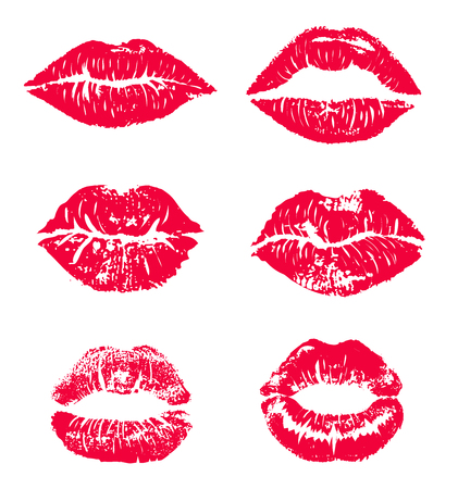 Lipstick kiss print isolated vector set. red vector lips set. Different shapes of female red lips. Sexy lips makeup, kiss mouth. Female lips. Print of lips