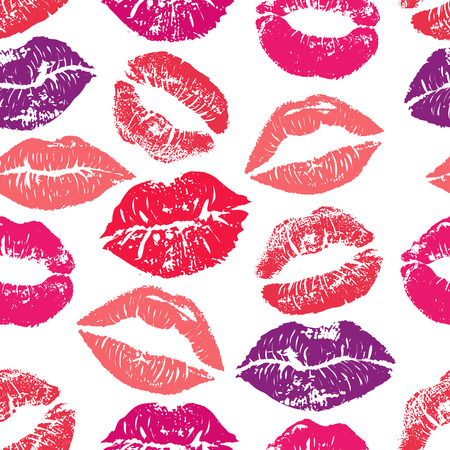 Lipstick kisses seamless pattern. Colorful lips of red purple and pink shades isolated on a white background. Fabric print, wrapping or romantic greeting card design, print of lipstick kiss vector. Illustration