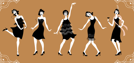 Charleston Party.Flat gatsby style set. Group of retro woman dancing charleston.Vintage style. retro silhouette dancer.1920