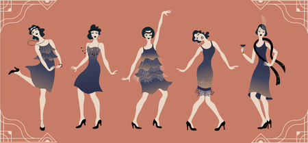 Charleston party Gatsby style set group of retro woman dancing Charleston. Vintage style retro silhouette dancer 1920 party vector background swing dance girl.