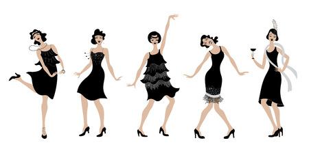 Silhouet van de meisjes het zwarte kleding dansende Charleston. Gatsby-stijl vastgestelde groep retro vrouw Charleston dansen. Vintage stijl retro silhouet danser 1920 partij vector achtergrond swing dance girl.