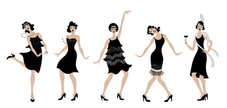 Charleston party black dress dancing girls silhouette. Gatsby style set group of retro woman dancing Charleston. Vintage style retro silhouette dancer 1920 party vector background swing dance girl.