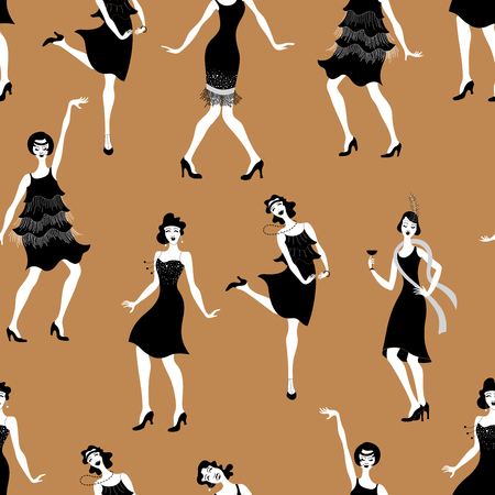 Charleston Party.Pattern gatsby style set. Group of retro woman dancing charleston.Vintage style. retro silhouette dancer.1920