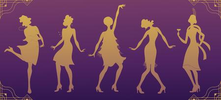 Charleston part gold silhouette dancer. Gatsby style set, group of retro woman dancing Charleston. Vintage style retro silhouette dancer 1920 party vector background swing dance girl. Vettoriali