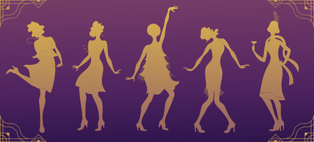 Charleston part gold silhouette dancer. Gatsby style set, group of retro woman dancing Charleston. Vintage style retro silhouette dancer 1920 party vector background swing dance girl. Stock Illustratie