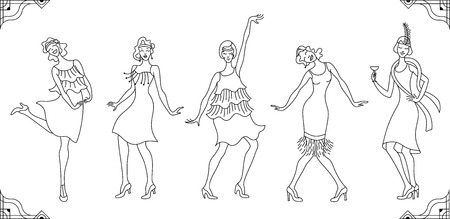 Group of retro woman dancing in black outlines isolated on white background.