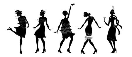 Group of retro woman dancing in black silhouette isolated on white background.