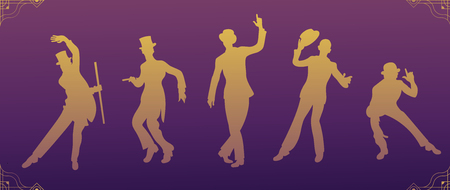 Charleston Party.Gold gradient silhouette dancer.Gatsby style set. Group of retro men dancing charleston.Vintage style. retro silhouette dancer.1920 party vector background.Swing dance men