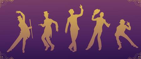 Charleston Party.Gold gradient silhouette dancer.Gatsby style set. Group of retro men dancing charleston.Vintage style. retro silhouette dancer.1920 party vector background.Swing dance men