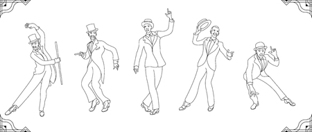 Charleston Party.lines set gatsby style set. Group of retro dancing charleston.Vintage style. retro outline men silhouette dancer.1920  イラスト・ベクター素材