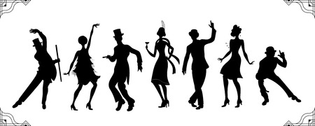Charleston Party. Gatsby style set. Group of retro woman and man black silhouette dancing charleston. Vintage style.