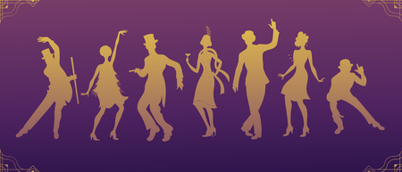 Group of retro woman and man gold silhouette dancing. Vintage style. Vettoriali