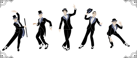 Charleston Party. Gatsby style set. Group of retro vintage man dancing charleston. Vintage style.