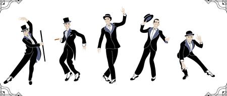 Charleston Party. Gatsby style set. Group of retro vintage man dancing charleston. Vintage style.