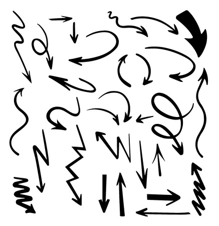 Vector abstract black hand drawn arrows set.Illustration of Grunge Sketch Handmade Vector Arrow Set.Arrow grunge vector Illustration