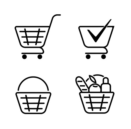 Basket of food, basket set icons. grocery shopping, special offer, vector line icon design.trolley icon