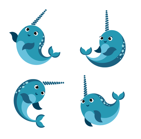 Cartoon happy smiling narwhal set.