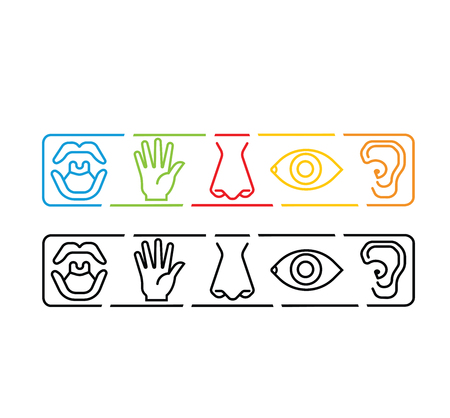Icon set of five human senses vision eye, smell nose, hearing ear, touch hand, taste mouth. Simple line icon vector illustration. simple color abstract set Illustration