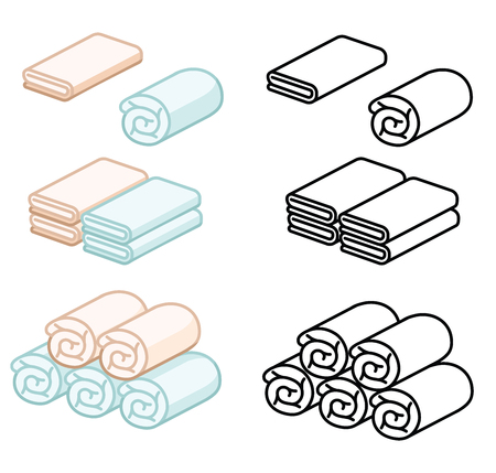 Set of towel vector illustration. Folded towels in a flat cartoon. Soft color towel. line towel.Towel roll for spa, kitchen, bath and others