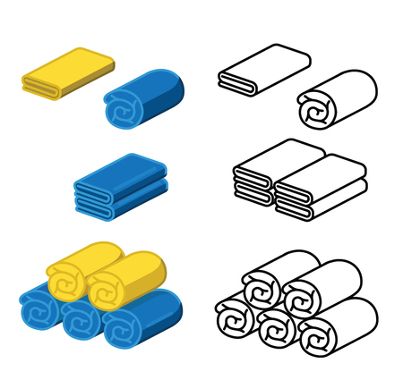 Set of towel vector illustration. Folded towels in a flat cartoon. Yellow and blue towel. line towel.Towel roll for spa, kitchen, bath and others