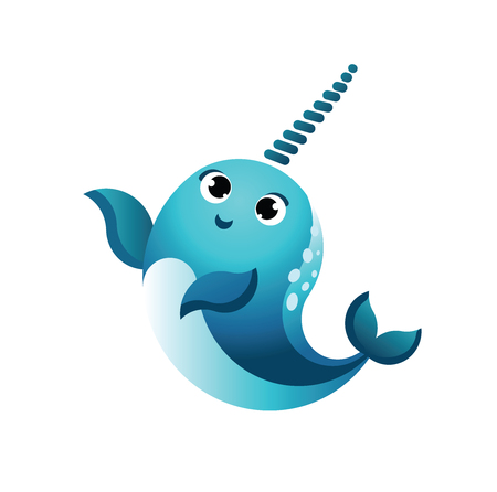 Cartoon happy smiling narwhal.Funny kawaii character isolated set. flat vector style illustration.Character whale.