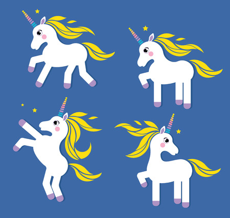 Vector illustration set of cute white fairy unicorn on the blue background with yellow hair and colorful horn.Cute magic collection with unicorn. Pony character
