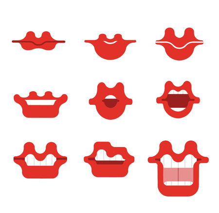 Mouth cartoon vector smile set. Funny Cartoon mouths set with different expressions. Smile with teeth, open mouth with tongue, surprised.Red lips.Simple vector illustration.Collection of mouth poses