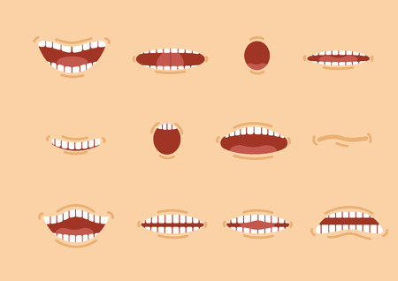 Cartoon skin color mouths set. Smile. Funny Cartoon mouth set with different expressions. Smile with teeth, sticking out tongue, surprised. Cartoon talking mouth and lips expressions vector animation