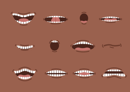 Cartoon african mouths set. Smile. Funny Cartoon mouth set with different expressions. Smile with teeth, sticking out tongue, surprised. Cartoon talking mouth and lips expressions vector animation Vectores