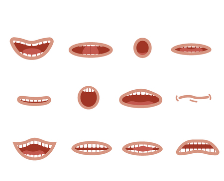 Cartoon mouths set. Smile, funny cartoon mouths set with different expressions. Smile with teeth, sticking out tongue, surprised. Cartoon talking mouth and lips expressions vector animations poses.
