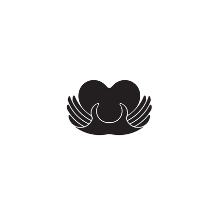 Charity concept logo. Donor holding heart in their hands.Vector illustration flat design.Isolated on white background. Volunteer black icon.Human helping. Healthcare.Team work  イラスト・ベクター素材